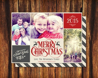 Christmas Photo Card 3 to 5 Photos 4x6 or 5x7 Merry Christmas - On Sale!