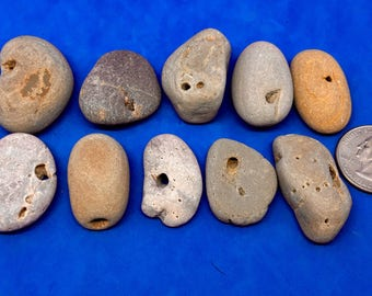 10 Hag stones , holey stones , natural holed stones , stones with holes , Beach Stones