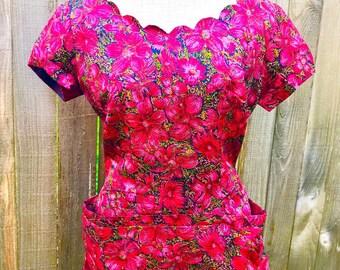 Vintage 1950s Magenta Silk Floral Wiggle Dress