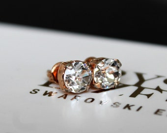 Rose Gold Stud Earrings made with Clear Swarovski Crystal Elements and Surgical Steel Posts