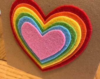 3D rainbow heart card