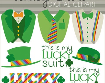 St Patrick's Day Clipart Set -Personal and Commercial Use- Green Suit Clip art - Lucky Shirt