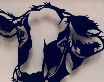 Handcut paper cow head