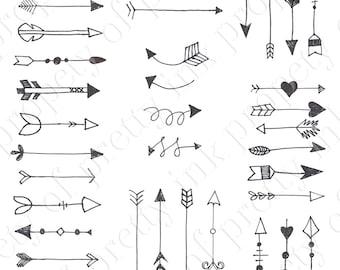 Hand drawn clip art, hand drawn arrows digital clip art, arrows for wedding signage, pretty inc designs