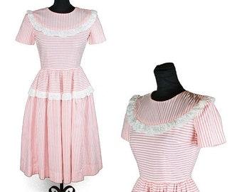 ON SALE 1940s Dress // Pink White Striped Eyelet Lace Ruffle Puff Sleeve Cotton Dress