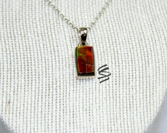 Ammolite Pendant, Ammolite Necklace, Canadian Ammolite, Natural Ammolite, Silver Ammolite Pendant, Rare Ammolite, Unique Ammolite Jewelry
