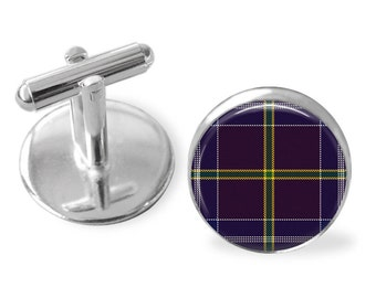 JACKSON TARTAN CUFFLINKS / Scottish Tartan Cuff Links / Tartan Jewelry / Personalized Gift for Him / Ancestral Jewelry / Jackson Clan