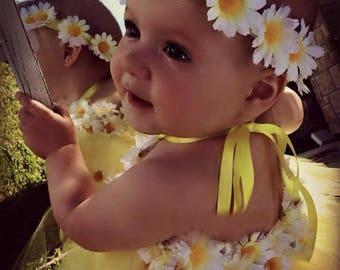 daisy chain, daisy headband, daisy wreath, toddler headband, infant headband