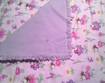 Baby blanket, Pink Lady bug and bees