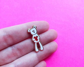valentine teddy bear hard enamel pin red glitter heart valentine gift for mom white gold lapel pin tiny brooch valentines day gift for her
