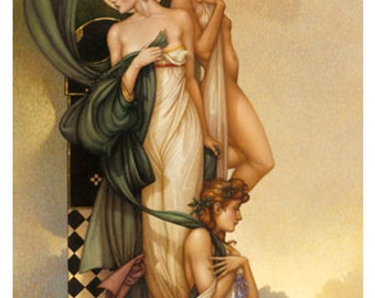 Three Graces by Fantasy Artist Michael Parkes Signed Limited Edition Giclee on Canvas and Professionally Framed