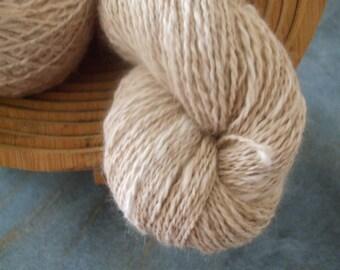 Handspun angora wool in cream