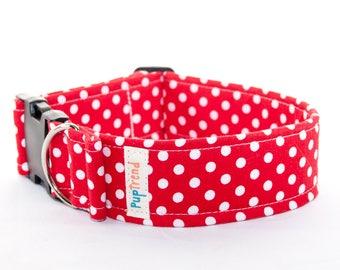 Red Polka Dot Designer Dog Collar//Red Polka Dot Dog Collars//Handcrafted Dog Collars//Polka Dot Dog Collar//Indie Dog Collar//Gift Under 30