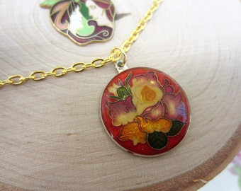 Vintage red enamel charm necklace. Gold charm necklace. Flower jewelry. Red, yellow, green. Gift for her.