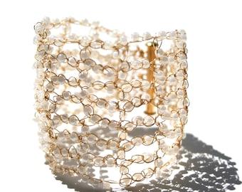 Gold pearl bridal cuff bracelet, wide seed bead wire crochet cuff, wedding jewelry