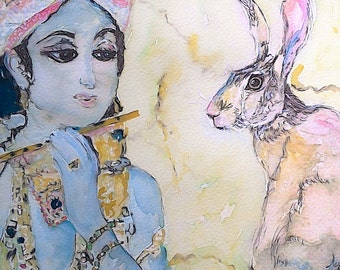 Hare Print Hare Krishna Hare Beautiful Giclee Print of  Watercolour and Ink Painting on Watercolour Paper