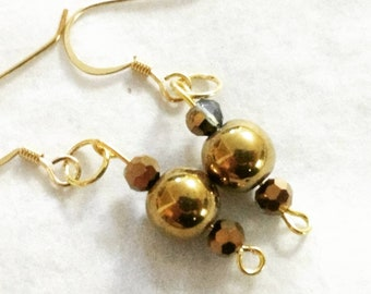 Gold and Crystal Hematite earrings