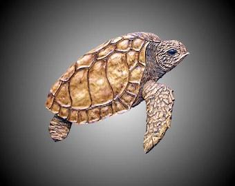 Juvenile Loggerhead Sea Turtle Wall Sculpture Version 1