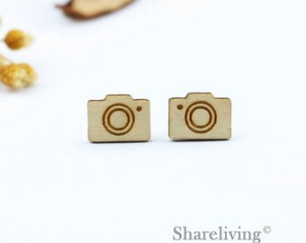 6pcs Wood Camera  Charm, Wooden Camera Pendant, Two Sizes, Perfect for Earring, Brooch, Necklace - HWD514Q