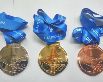 2010 Vancouver Undulated Shape Olympic Medals Set -Gold/Silver/Bronze