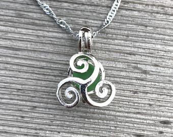 Curling Waves Sea Glass Locket Necklace by Wave of Life™