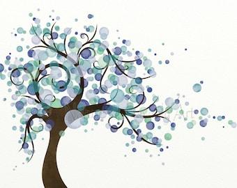 Blue Green Tree Wall Art For Home, 11 x 14 Purple Blue Wind Blowing Tree Art Print Nature Wall Decor (129)