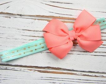 Coral Bow Headband - Newborn Bow Headband - Coral and Aqua Bow Headband