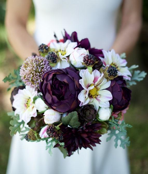 Names Of Purple Flowers For Wedding: AMAZING Lilac Plum Wedding Silk Succulent Peonies Dahlias
