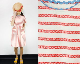 Pure Cotton Vintage Fabric White and Red Striped Print Smock Dress [Yoko dress/Tucson White]