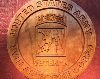 """US Army Veteran Plaque - Unit patch 11"""" in Cherry"""