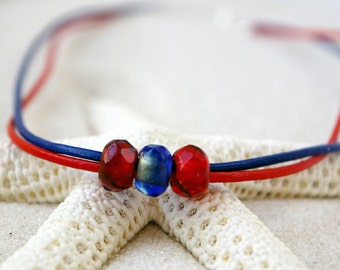 July 4th Jewelry - Patriotic Necklace - USA Patriotic Jewelry - Independence Day Necklace - Red and Blue Leather Necklace - Summer Jewelry
