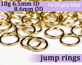 18g 6.5mm ID 8.6mm OD gold filled jump rings -- goldfill jumprings 18g6.50 links