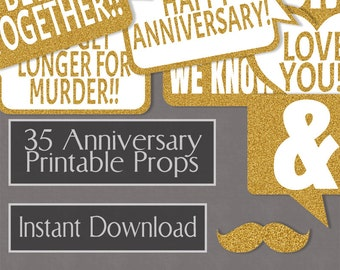 35 Anniversary Prop Printables - Glitter Gold Party Props, Anniversary Photo Booth Props, wedding anni, speech bubbles, photobooth selfies