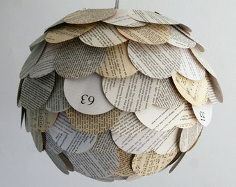 The Manhasset Mixed Book Page Pendant Light - Hanging Paper Artichoke Lantern - Shade Only
