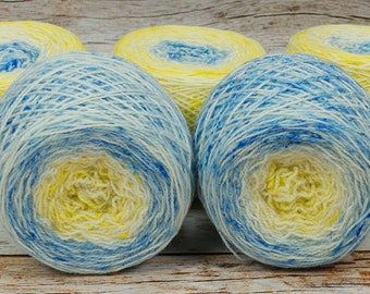 "Full "" Cas & The Bees "" - Llark Handpainted Gradient Speckle Fingering Weight Yarn"