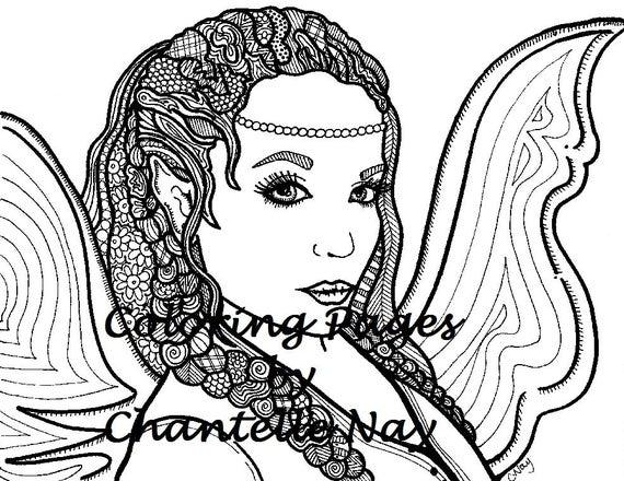 Mandala Mujer Para Colorear: Niña Hada Hermosa Página Para Colorear Mujer Cara Adulto
