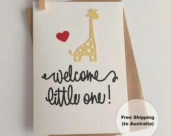 Welcome Little One Card – Congratulations Baby Card – Giraffe Baby Card – New Baby Card – Baby Giraffe Card – Christening Card