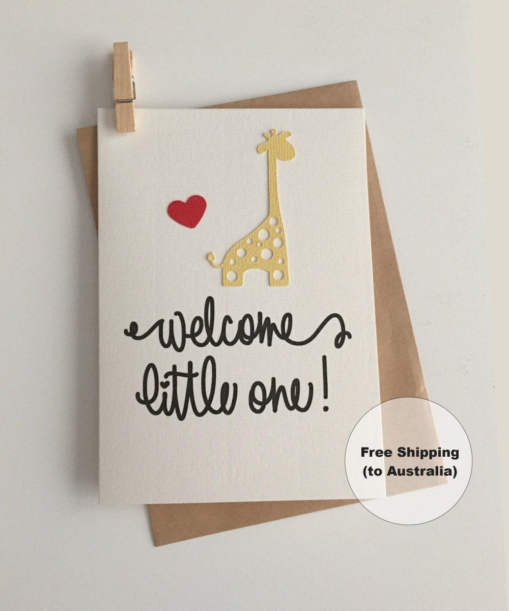 Welcome Little One Card Congratulations Baby Card Giraffe
