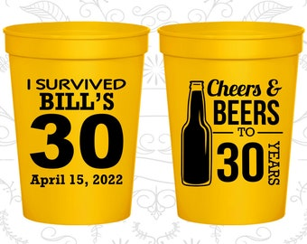 30th Party Favor Cups, Cheers and Beers, Cheers to 30 Years Cups, Party Favor Cups, Cheers Party Cups (20214)