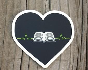 vinyl sticker - heart sticker -  book pulse - vinyl decal - laptop decal - book sticker - vinyl stickers - book stickers - vinyl decals