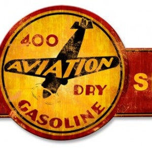 400 Aviation Full Service Arrow Replica Sign 32 x 10 USA Made Powder Coated Steel Vintage Style Retro Gas Oil Garage Art Wall Decor ps596