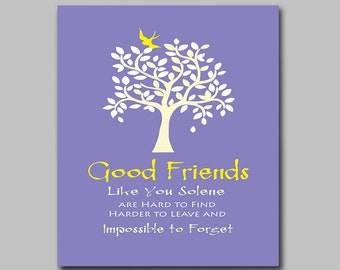 Purple Best Friend Gift - Friendship - Thank You for Being a Friend - Moving Away Gift - Friendly Bird in Leafy Tree in Any Color