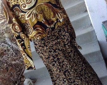 Vintage Rockin' the 80's tribal geometric dress size 14 free shipping