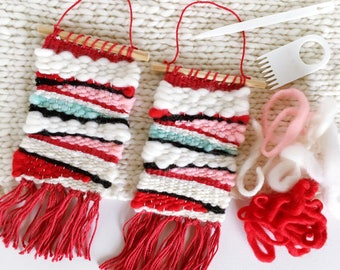 MINI Woven Wall Hanging / Woven Wall Art Tiny / Miniature Weaving / Red, White, Black, Pink, Mint