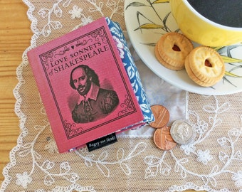 William Shakespeare Coin Purse, Poetry coin purse, Teeny tiny book purse, Shakespeare purse