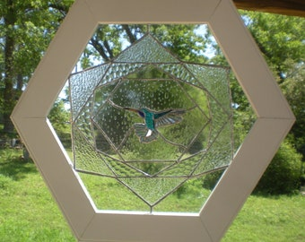 Blue Throated Hummingbird, Stained Glass , Wood Frame, Hand Made in USA, Ship only to Mainland USA
