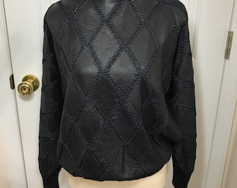 Women's Vintage Angel Leather and Crochet Top Pullover Batwing Dolman Sleeves Size M Navy Blue
