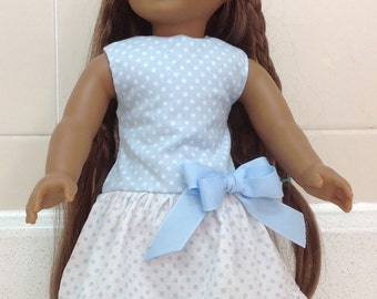 Blue Polka Dots Dress American Made 18 Inch Doll Clothes