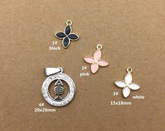 10PCS, Enamel Charm, Flower Charm, White Fishbone Pendant, Jewelry Charm, Craft Supplies, Gold Tone