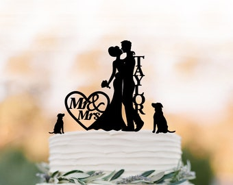 Personalized Wedding Cake topper with 2 dogs, mr and mrs,bride and groom silhouette , custom name cake topper for wedding